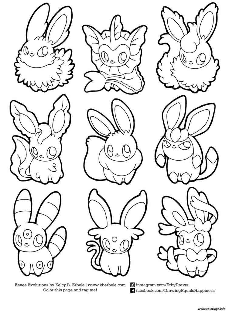 754x1024 Eeveelutions Coloring Pages