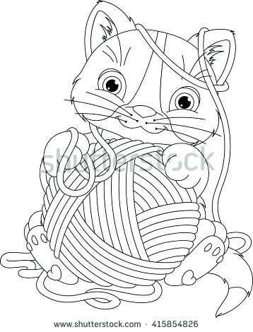 358x470 Coloring Book Yarns Kitten With Yarn Ball Coloring Page Coloring
