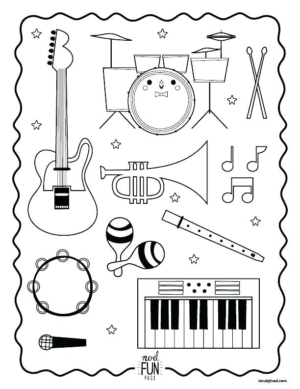 612x792 Musical Instrument Coloring Pages Nod Printable Coloring Page