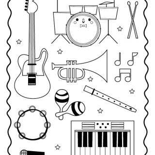 320x320 Musical Instruments Coloring Pages Printable