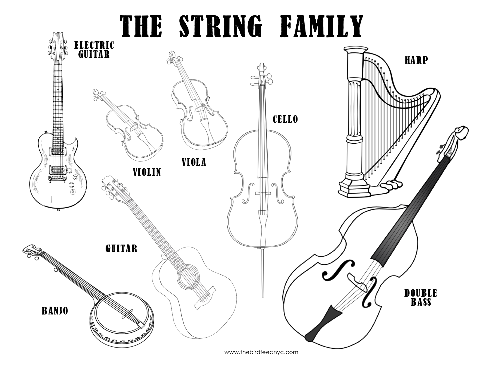 1651x1275 Musical Instruments Coloring Sheet The String Family