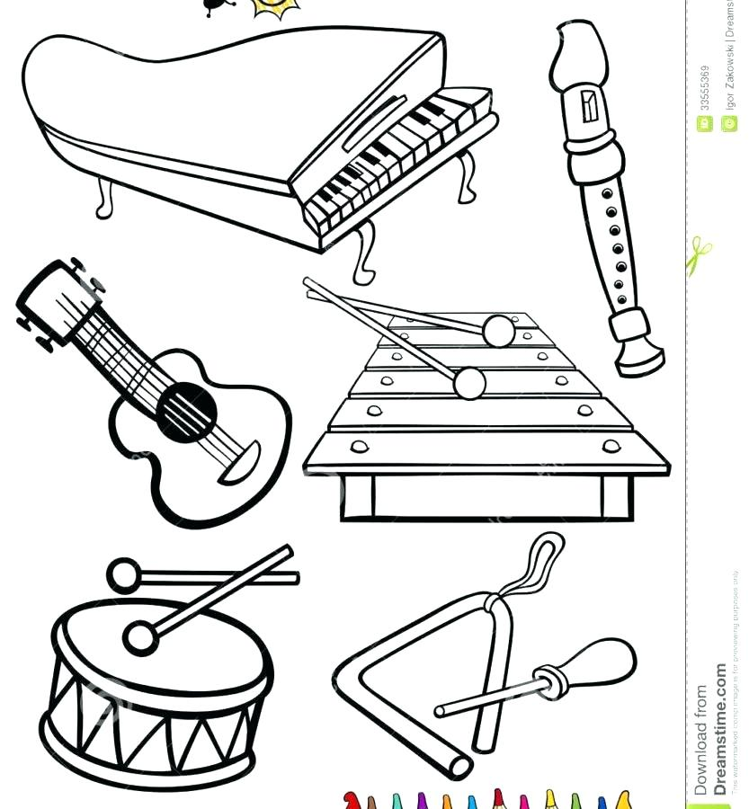 833x900 Musical Instruments Coloring Pages