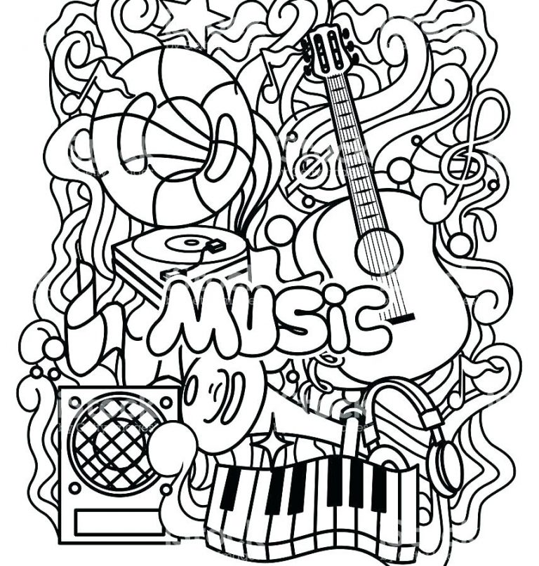 768x807 Free Printable Coloring Pages Musical Instruments Copy Instrument