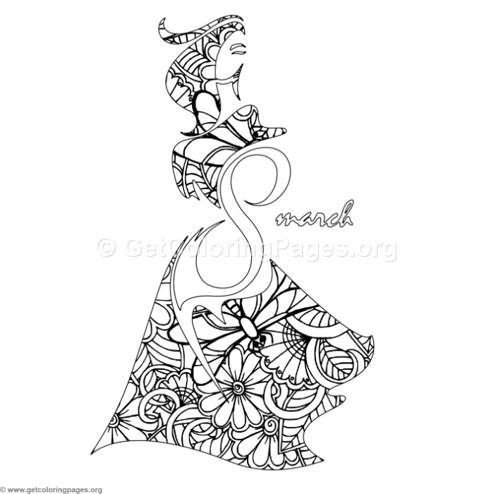 700x700 International Women's Day Zentangle Coloring Page