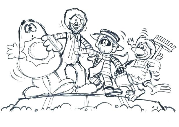 618x441 Mcdonalds Coloring Pages Rough Storyboard Drawing