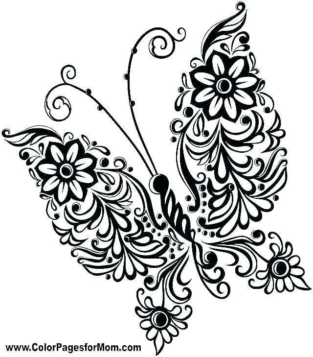 640x729 Coloring Page Of Butterfly Intricate Butterfly Coloring Pages