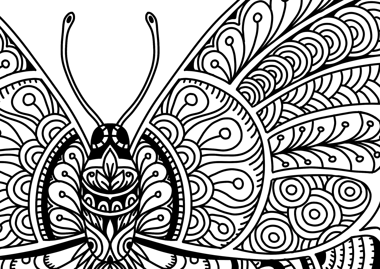 1261x892 Beautiful Butterfly Doodle Art Adult Coloring Page Karyn Lewis