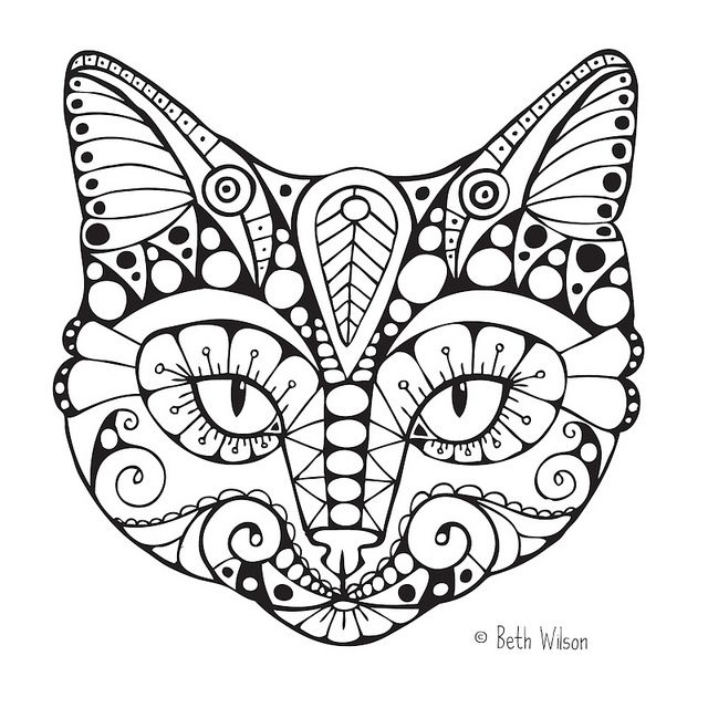 Intricate Cat Coloring Pages