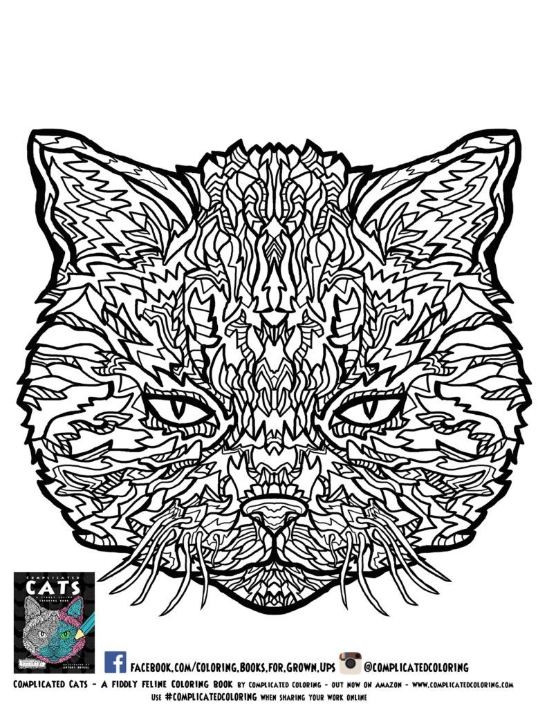 791x1024 Incredible Complex Coloring Pages For Adults Alphabet Pic Cat Hard