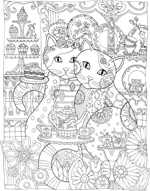 600x760 Cat Coloring Page Complex Coloring Pages For Adults Intricate Cat