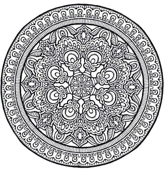 650x673 Detailed Mandala Coloring Pages Intricate Mandala Coloring Pages