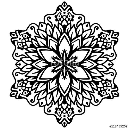 500x500 Black Mandala For Coloring Mandala Vector Coloring Page Mandala