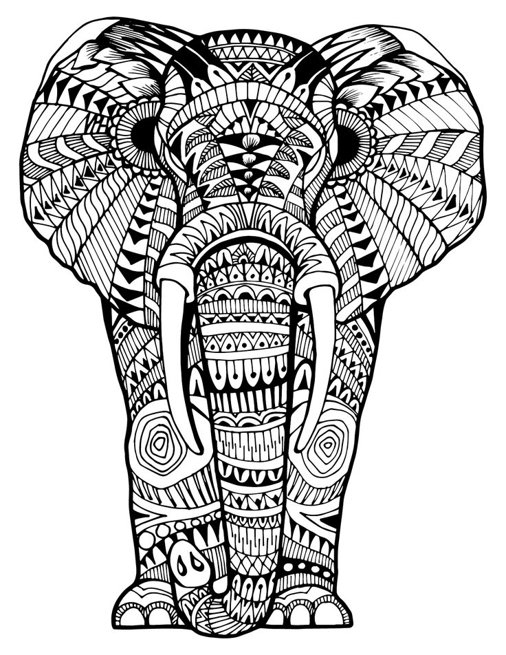 Intricate Elephant Coloring Pages