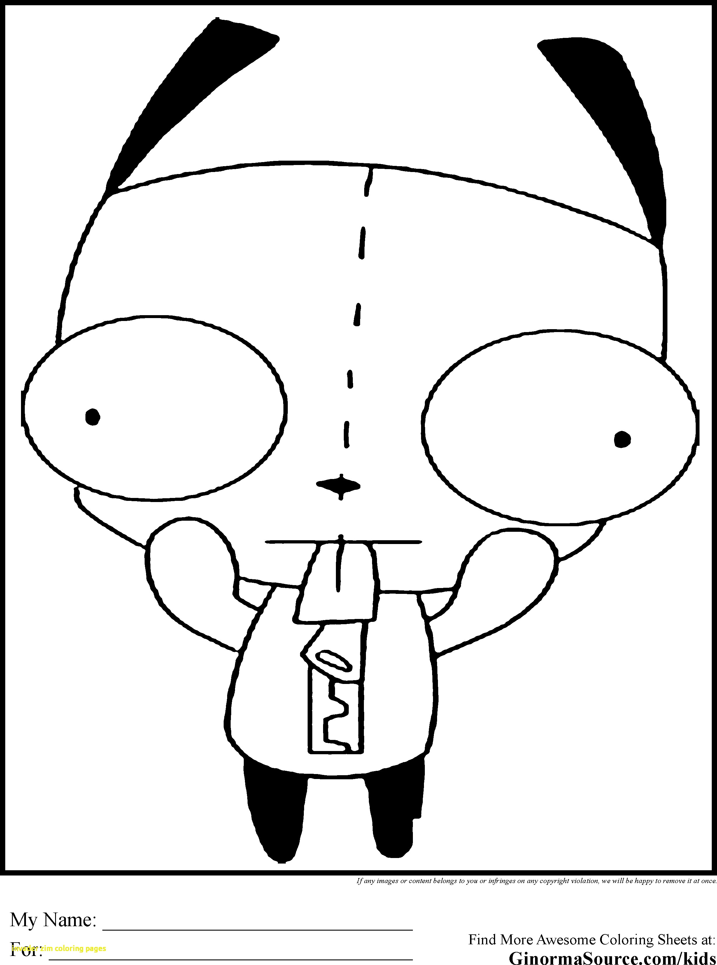 2459x3310 Invader Zim Coloring Pages With Invader Zim Gir Coloring Pages