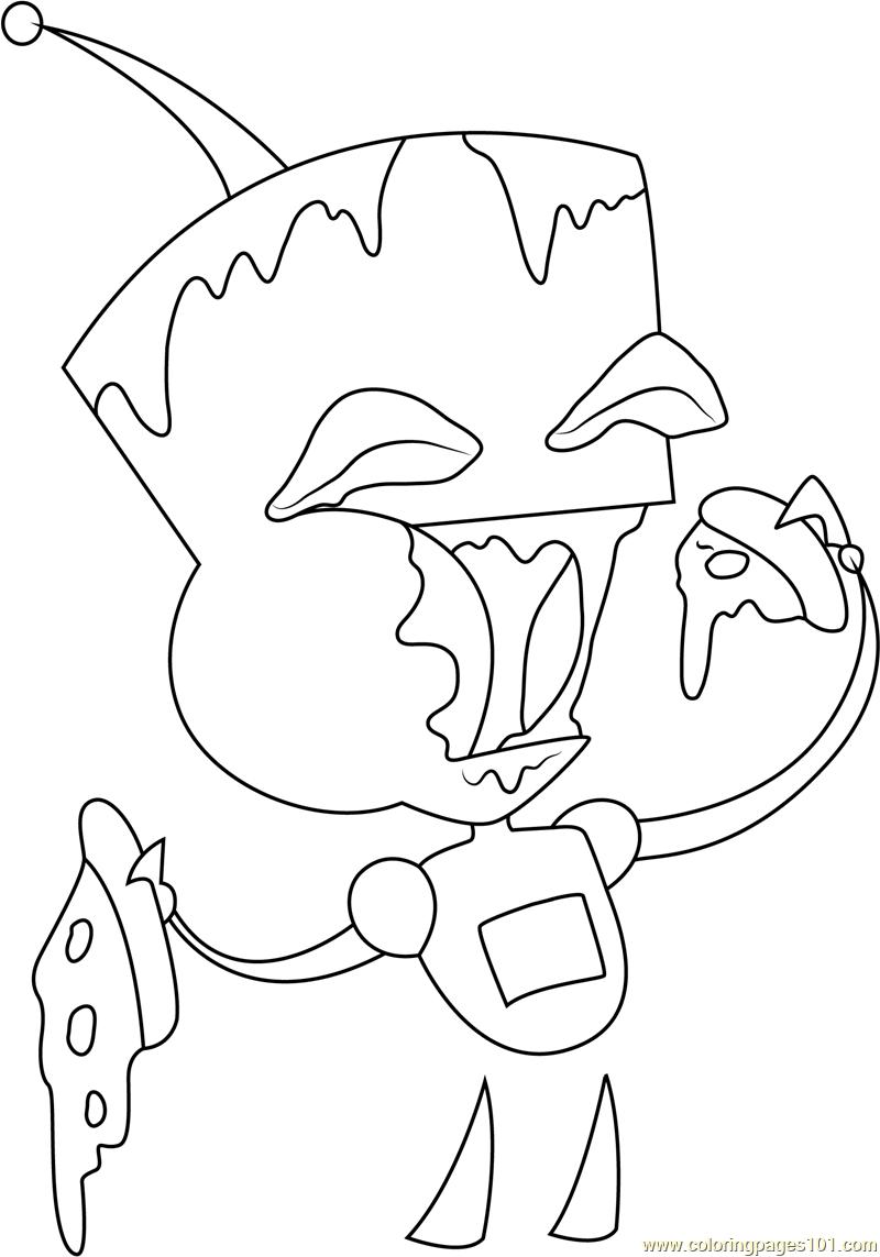 800x1143 Marvelous Gir Coloring Pages Printable In Beatiful Gir Eating