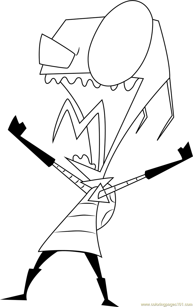 800x1275 Shouting Invader Zim Coloring Page