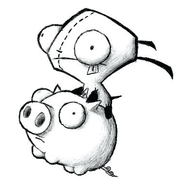 394x379 Invader Zim Coloring Pages