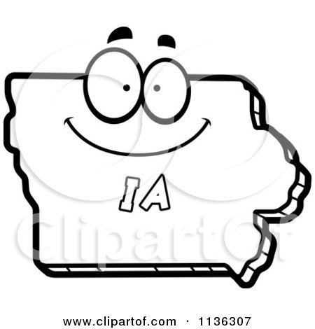 450x470 Cartoon Clipart Of An Outlined Happy Iowa State Character