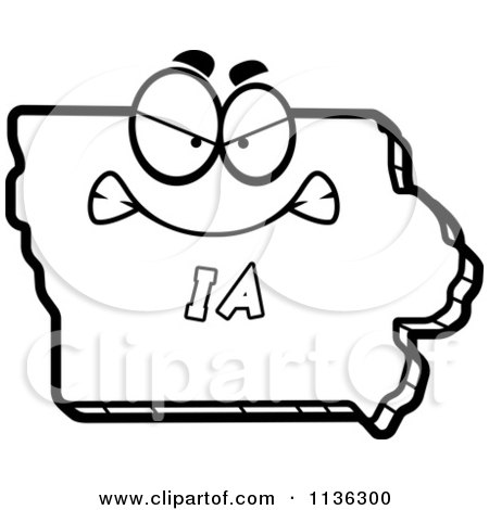 450x470 Cartoon Clipart Of An Outlined Mad Iowa State Character