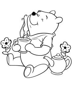 236x305 Bear Coloring Pages Winnie The Pooh Bear Having Tea Coloring
