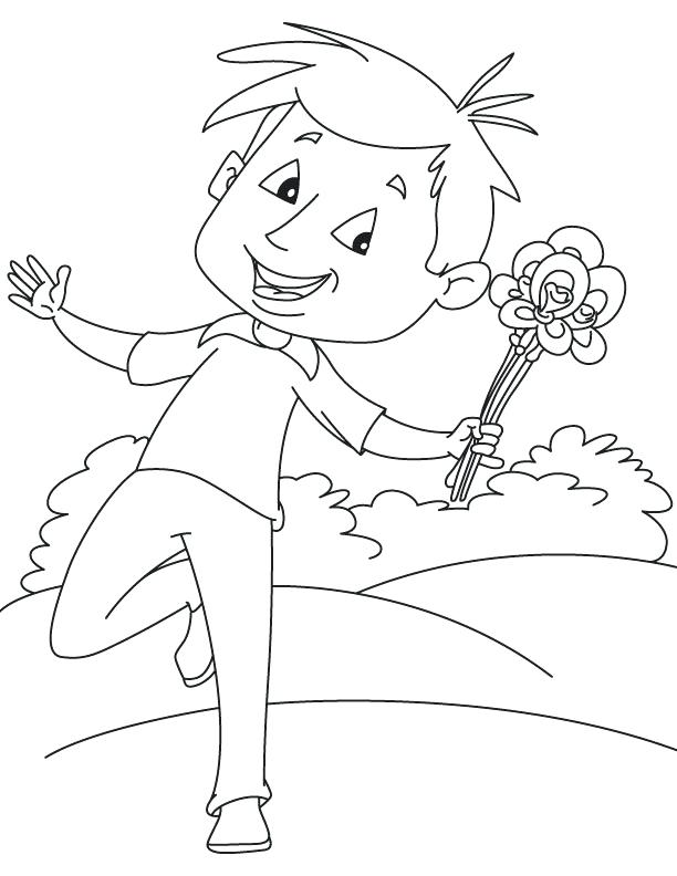 612x792 Iris Flower Colouring Page Happy Boy With Coloring Download Free
