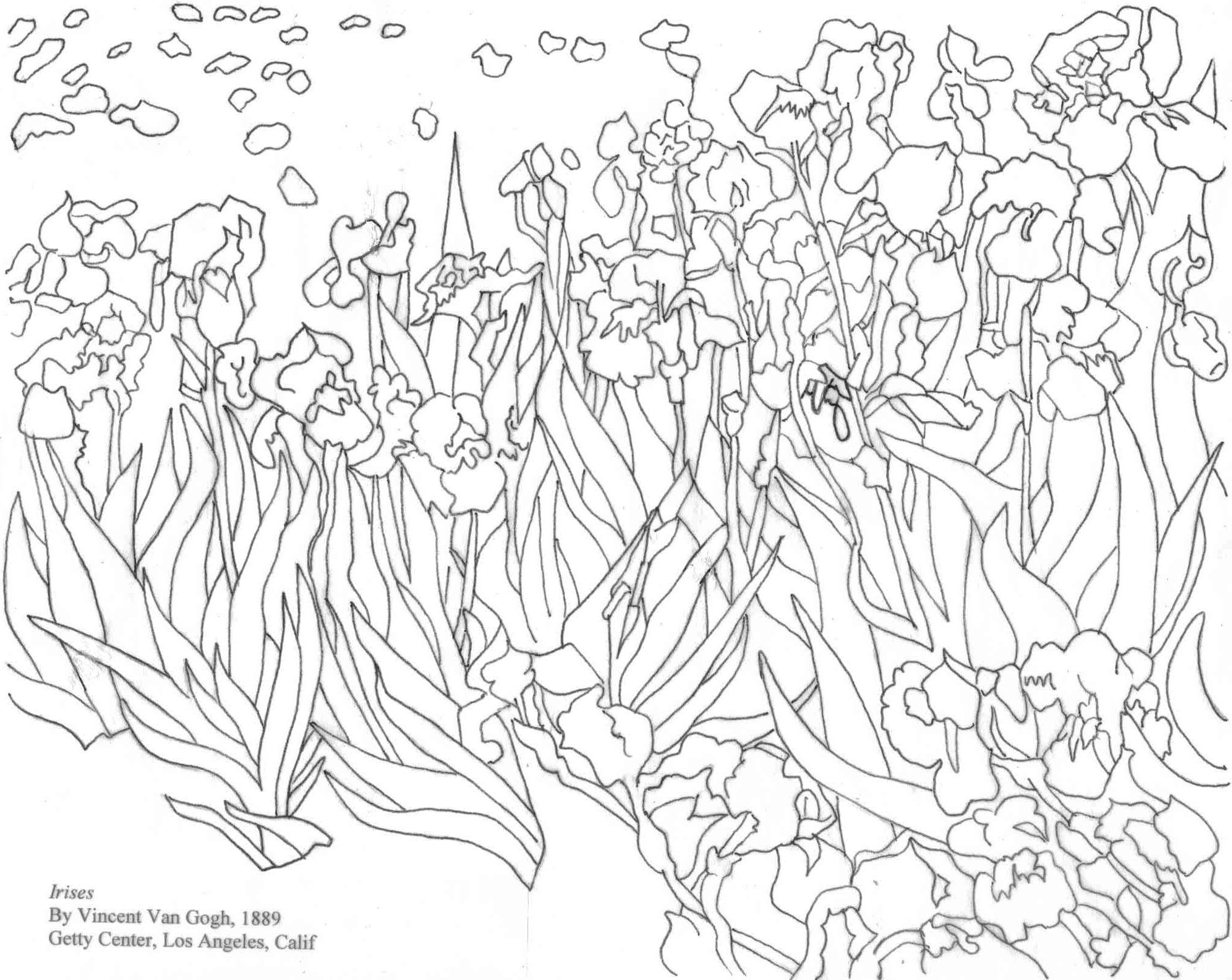 2028x1613 Van Gogh's Irises Coloring Page Art Coloring Fine Art