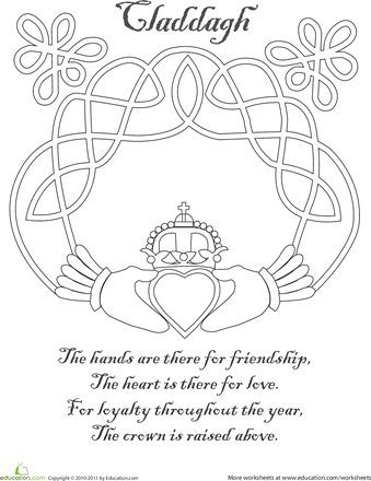 339x440 Claddagh Coloring Page Claddagh And Symbols