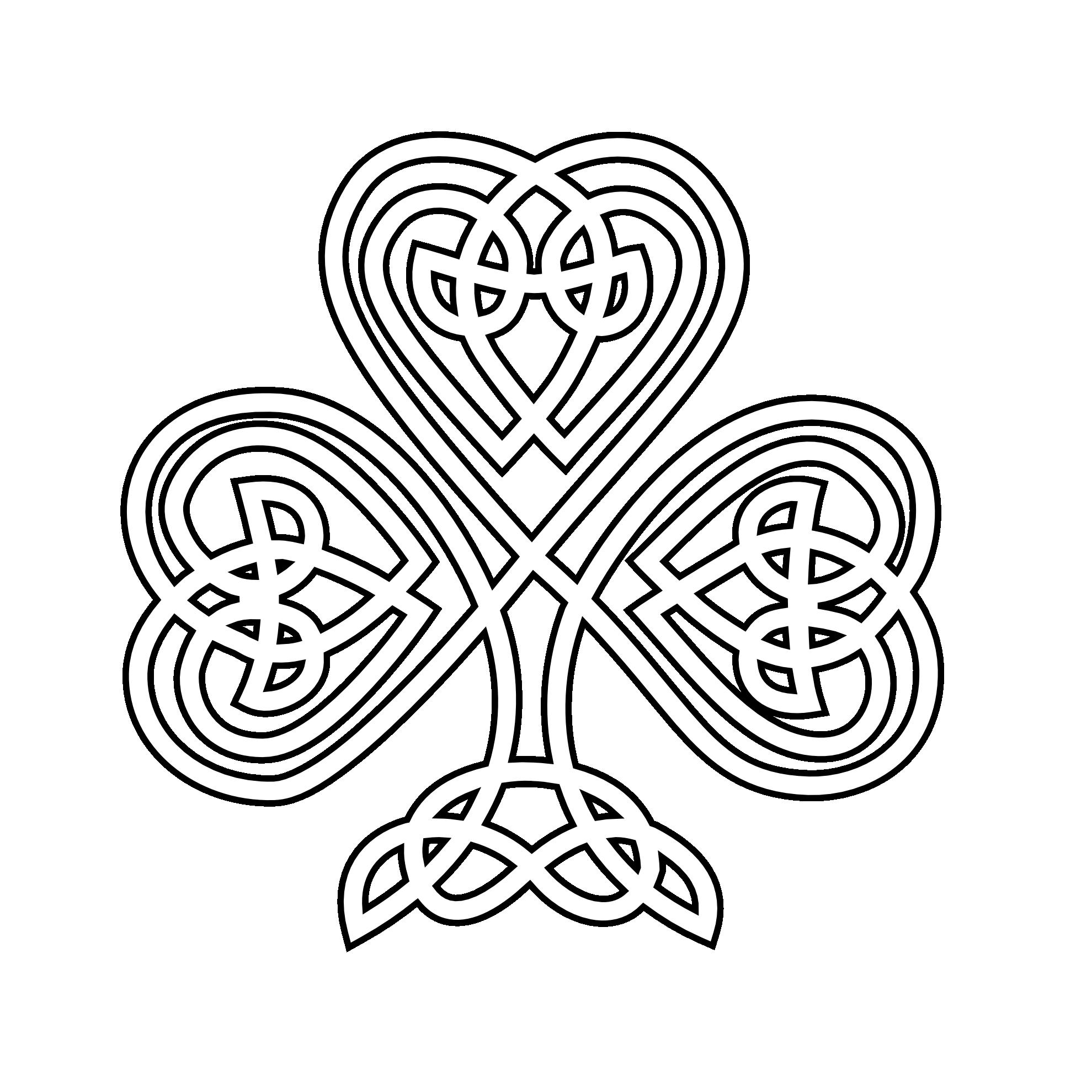 1979x1979 Shamrock Celtic Shamrock Black White Line Flower Art Coloring