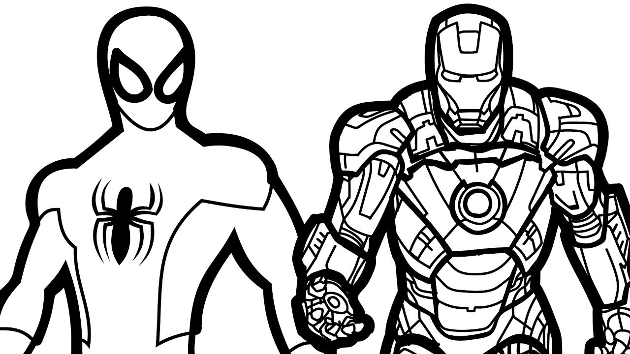 1280x720 Spiderman And Ironman Free Coloring Page Adults Iron Man Movies
