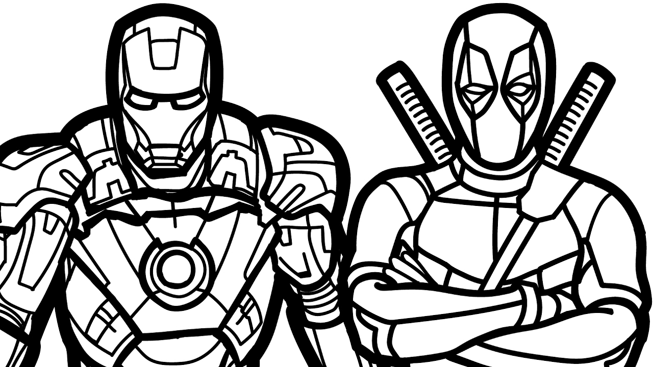 1280x720 Fashionable Ideas Deadpool Coloring Pages Iron Man And Book Kids