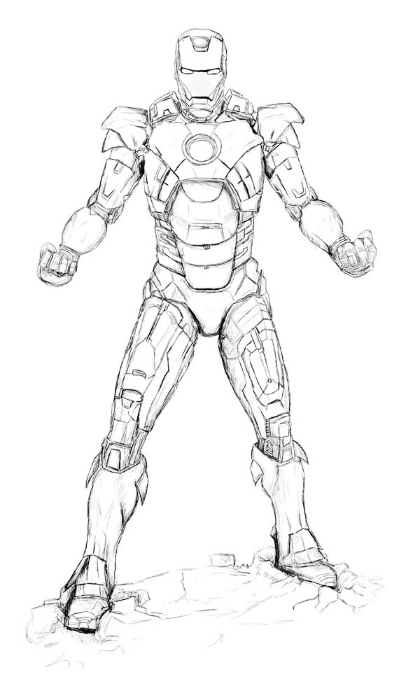 600x1000 Sketch Of Iron Man Coloring Page