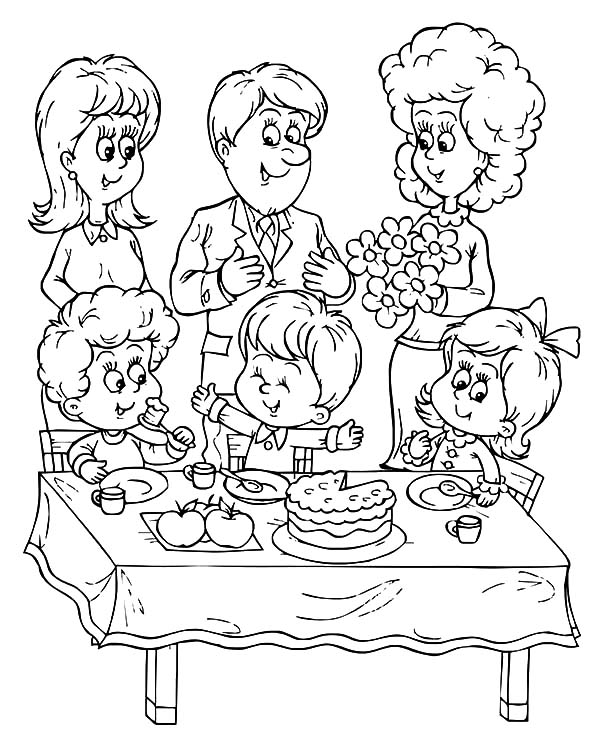 600x747 Drawing Of My Birthday Party Celebrating Birthday Party Coloring