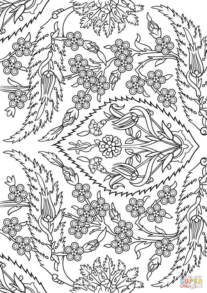 724x1024 Turkish Tiles Islamic Art Coloring Page