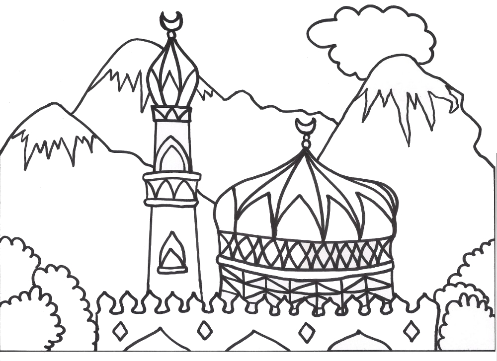 1000x727 Coloring Books For Muslim Children Coloring Mosque Arabic