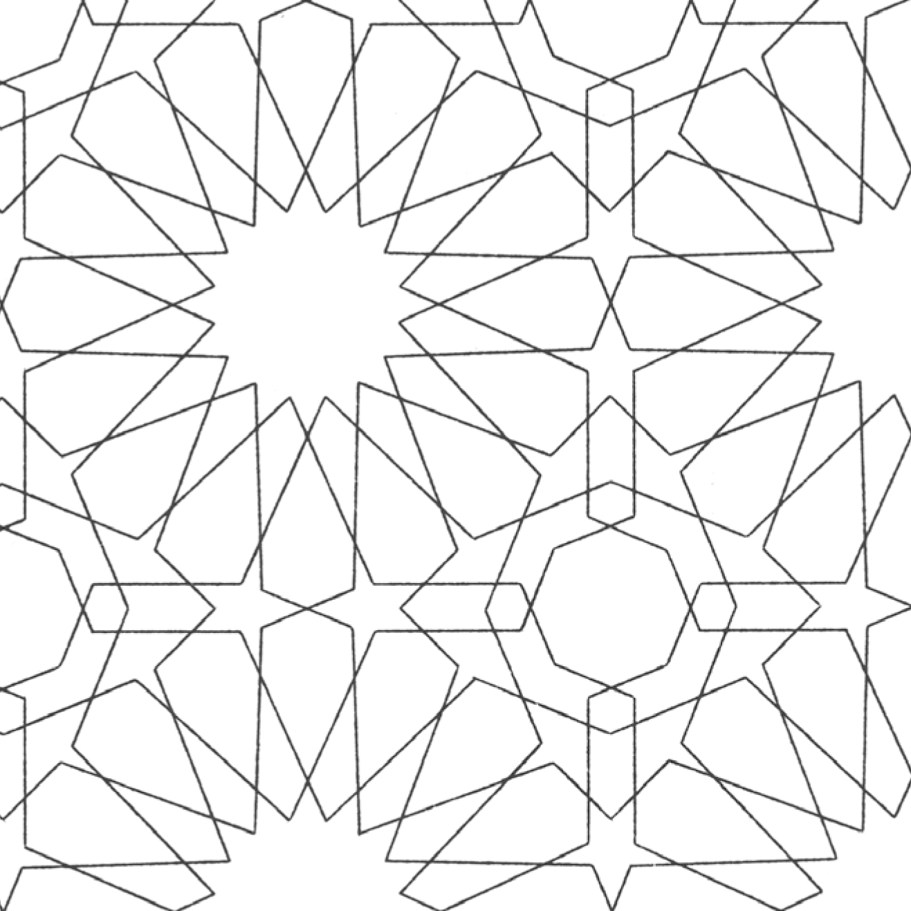 1317x1317 Islamic Geometric Patterns Coloring Pages Collection Coloring