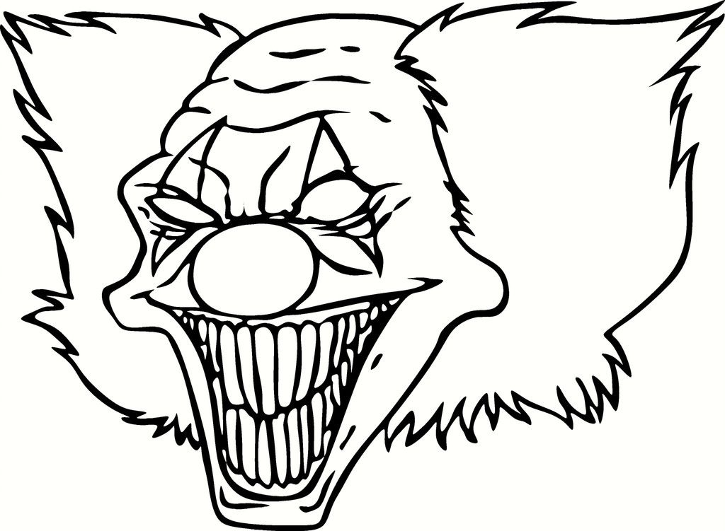 1024x751 Scary Coloring Pages Scary Clown Coloring Pages Coloring Home