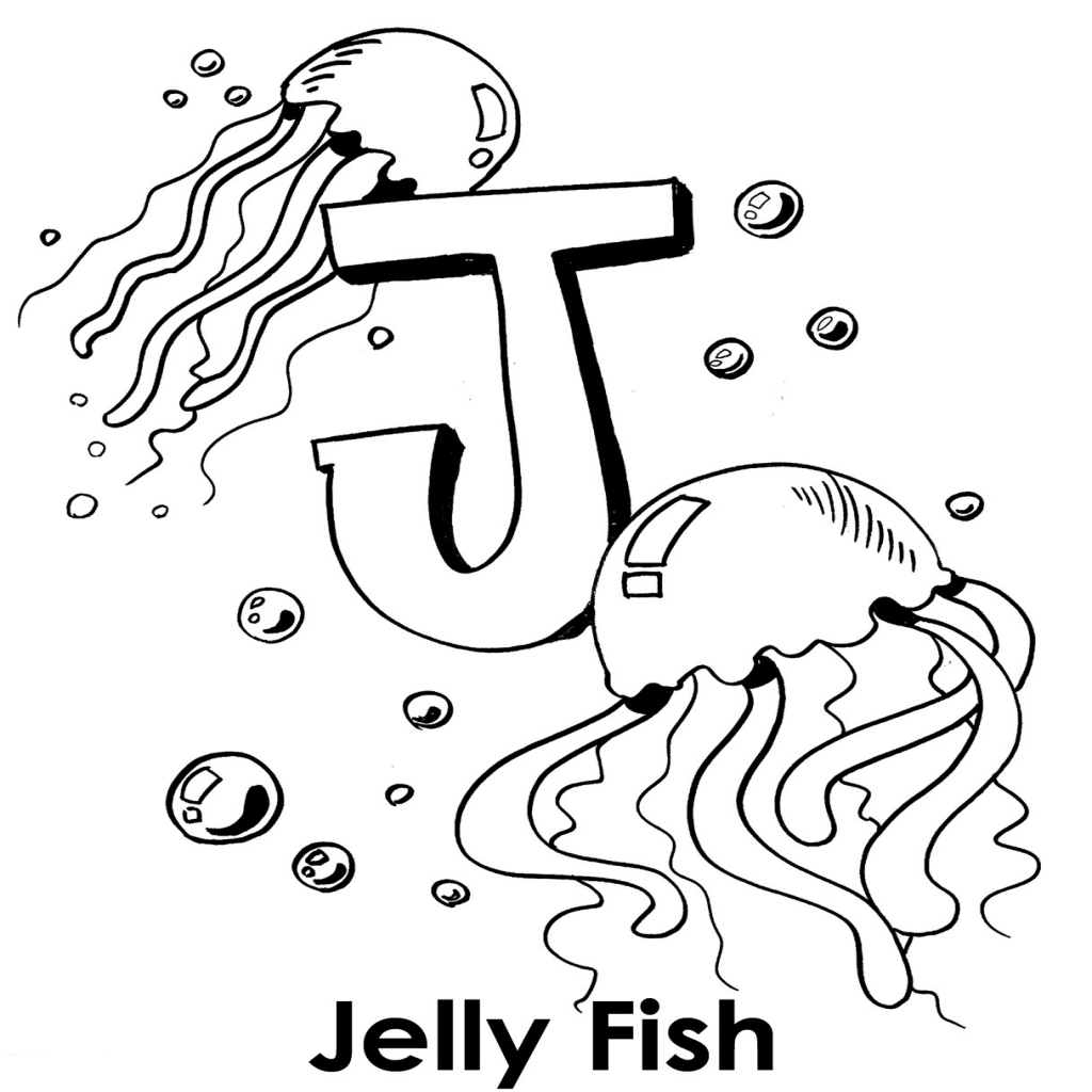 1024x1024 J Coloring Pages Printable Best Of Draw Jellyfish Coloring Pages