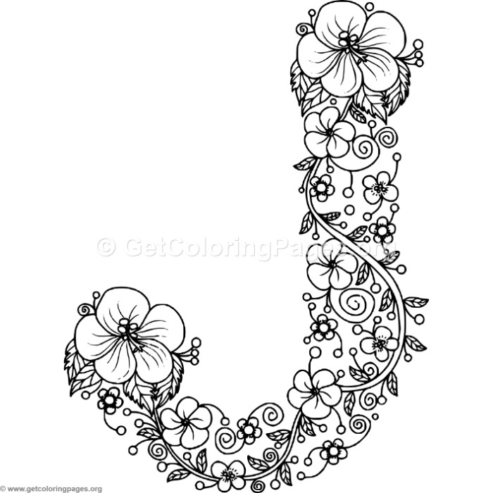 700x700 Floral Alphabet Letter J Coloring Pages