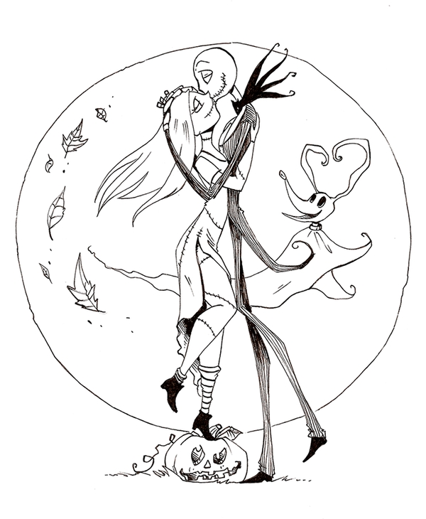 600x730 Jack And Sally Coloring Pages Nightmare Before Christmas Coloring