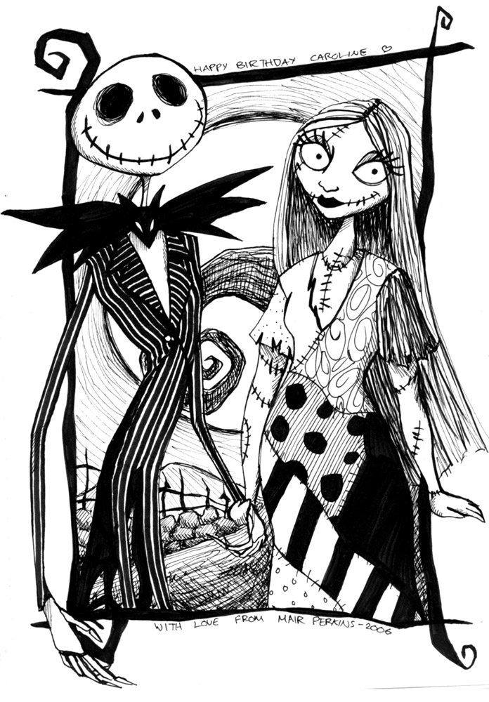 696x1000 Nightmare Before Christmas Jack And Sally Coloring Pages Drum