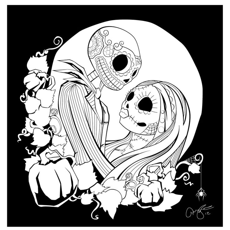 736x736 Nightmare Before Christmas Jack And Sally Coloring Pages Nightmare