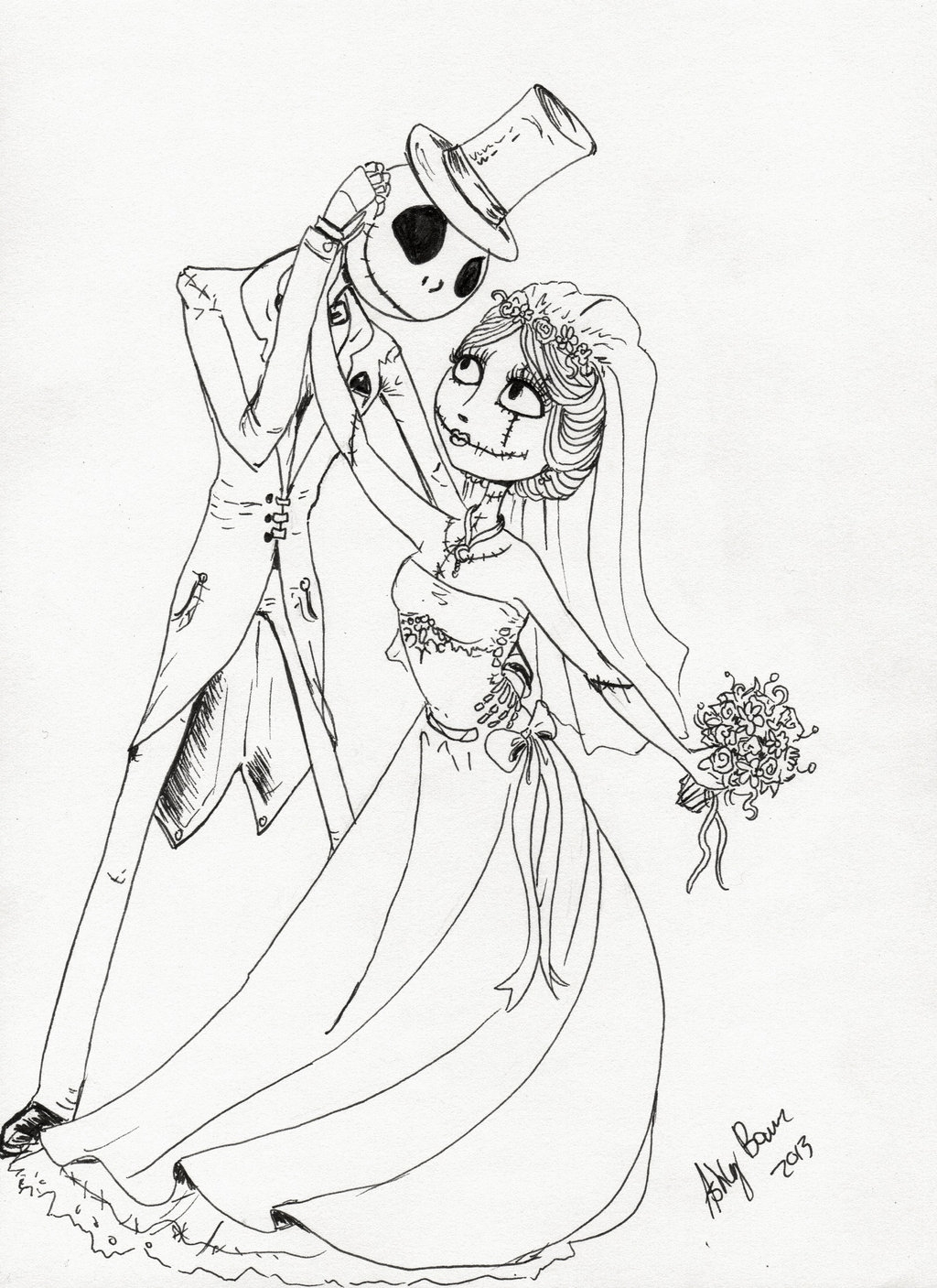 Jack And Sally Printable Coloring Pages