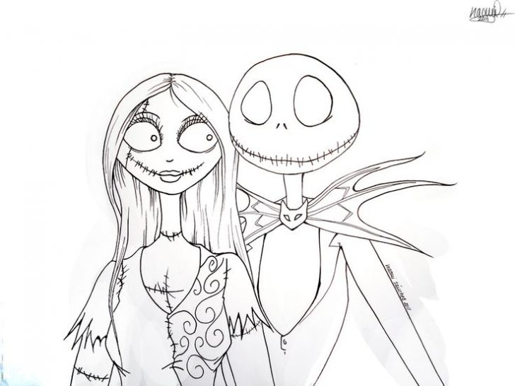728x546 Nightmare Before Christmas Jack And Sally Coloring Pages