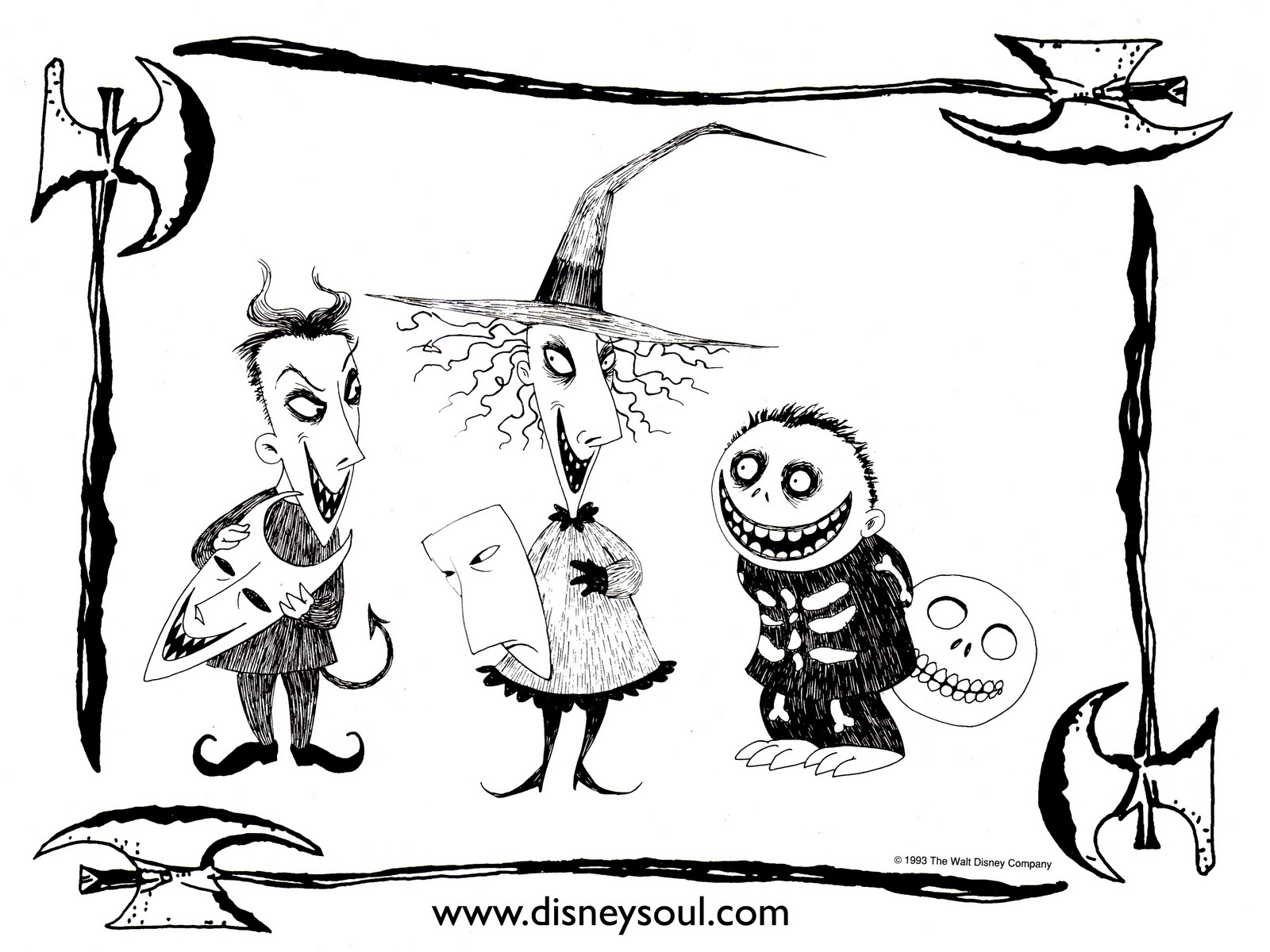 1600x1200 Nightmare Before Christmas Coloring Pages Mayor To Print