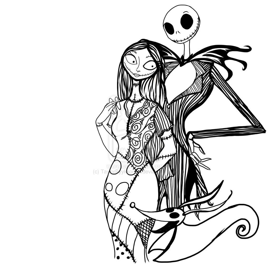 1024x1006 Pix For Gt Jack And Sally Nightmare Before Christmas Coloring Pages
