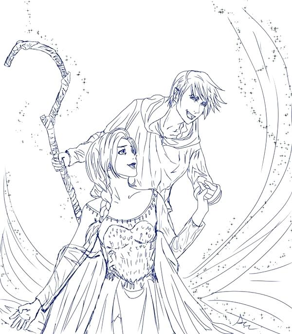 600x685 Elsa And Jack Frost Coloring Pages Let It Go