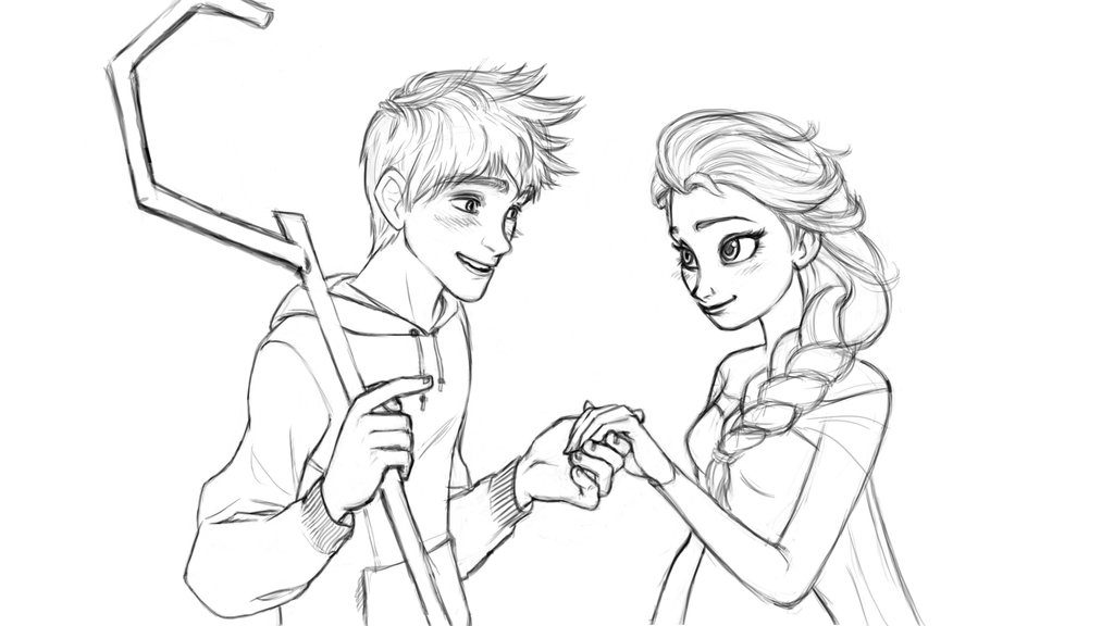 1024x576 Elsa And Jack Frost Coloring Pages Jack Frost And Elsa Coloring