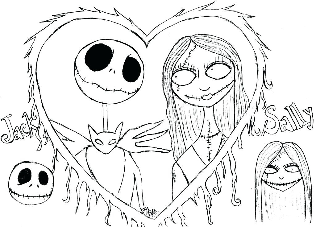 1024x736 Nightmare Before Christmas Jack And Sally Coloring Pages Nightmare