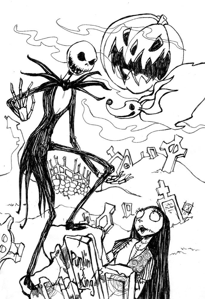 687x1000 Jack Skellington Pumpkin Coloring Page