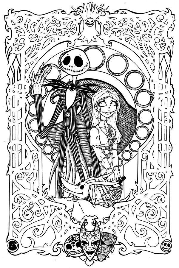 600x900 Free Printables Nightmare Before Christmas Coloring Pages